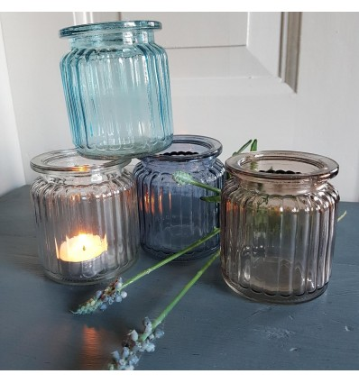 Fyrfadstage/vase i glas 4 forskellige